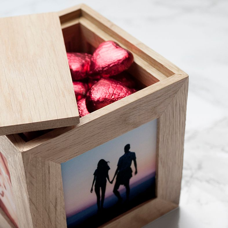 Personalised real Oak Photo Cube: romantic gift for Valentine, anniversary or wedding. Handcrafted, engraved to order, also available filled with chocolates!