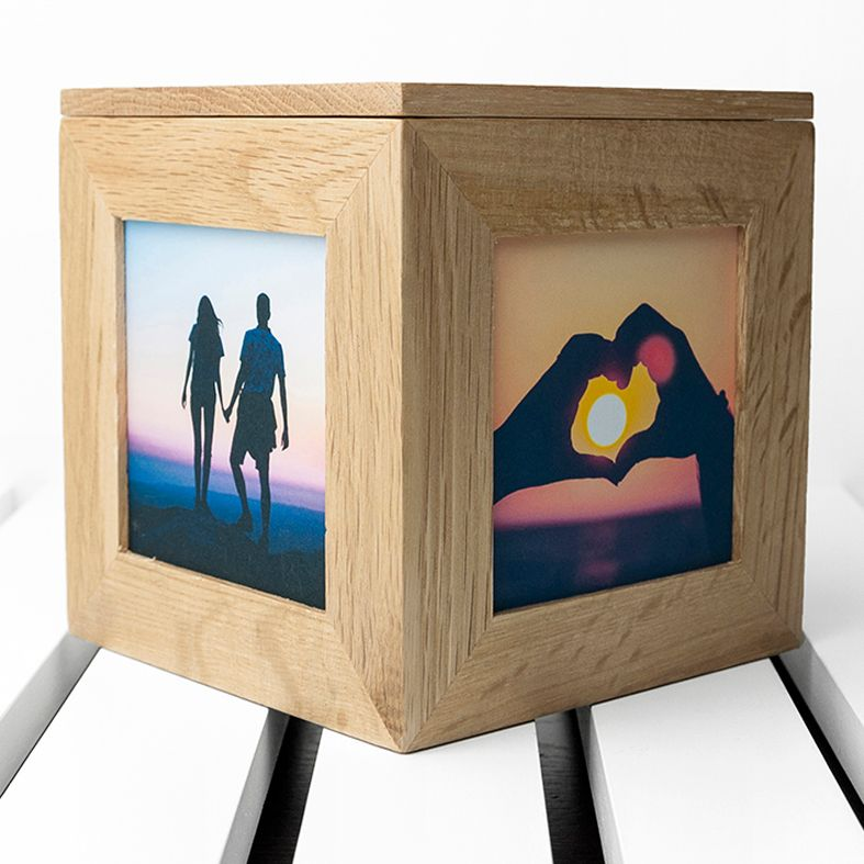 Personalised Oak Photo Display Cubes | Engraved Wooden Missing You Gift, from PhotoFairytales