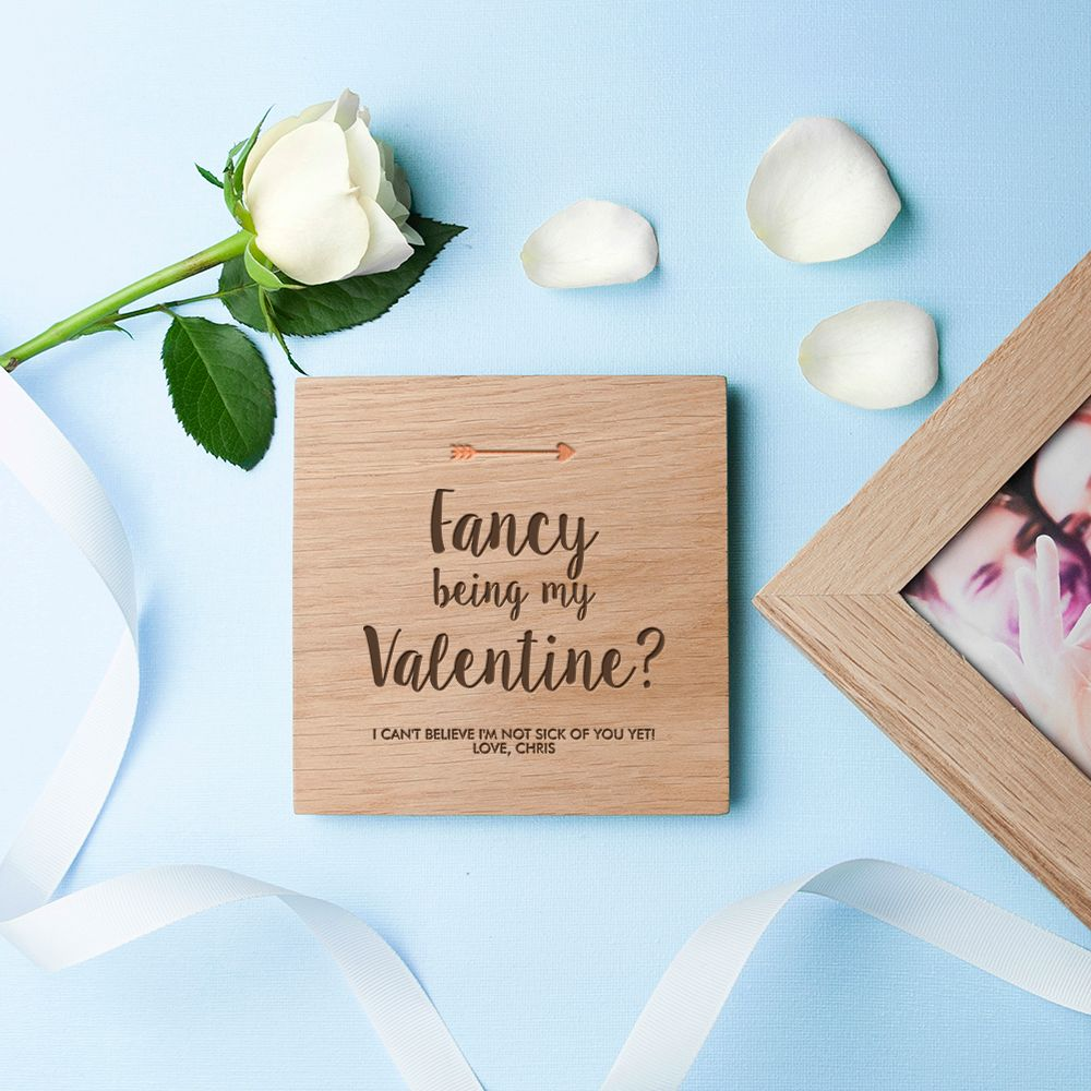Personalised Real Oak Photo Cubes, Fancy Being My Valentine   romantic gift for Valentine, anniversary or wedding. Handcrafted, engraved to order, available with chocolates!