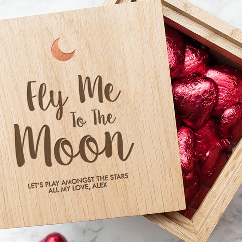 Personalised Real Oak Photo Cubes, Fly Me To The Moon   romantic gift for Valentine, anniversary or wedding. Handcrafted, engraved to order, available with chocolates!