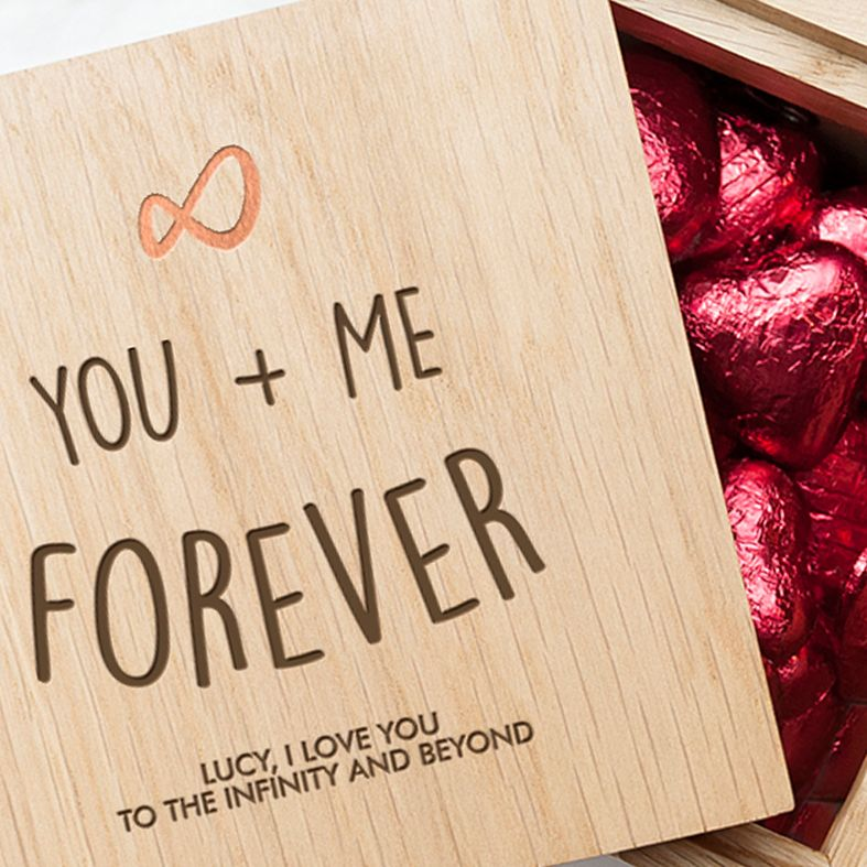 Personalised Real Oak Photo Cubes, Infinity Design | romantic gift for Valentine, anniversary or wedding. Handcrafted, engraved to order, also available filled with chocolates!