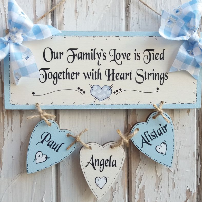 Personalised Wooden Family Tree plaque, handmade to order - a fabulous gift to celebrate your family. Available in range of colours, from PhotoFairytales