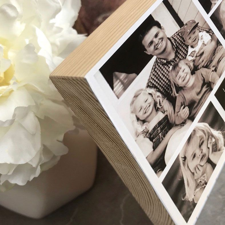 Handmade wooden Storyboard Photo Blocks: freestanding solid wood, personalised with your photos & wording | PhotoFairytales