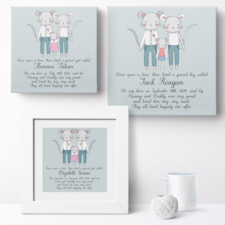 Personalised Mouse Family nursery print | bespoke baby christening gifts from PhotoFairytales