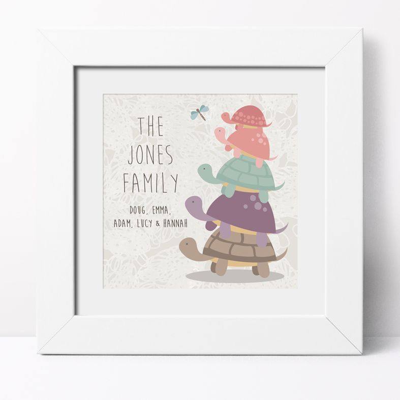 Turtle Family Personalised Print | Personalised Gifts for Family, Canvas and Art Prints, PhotoFairytales