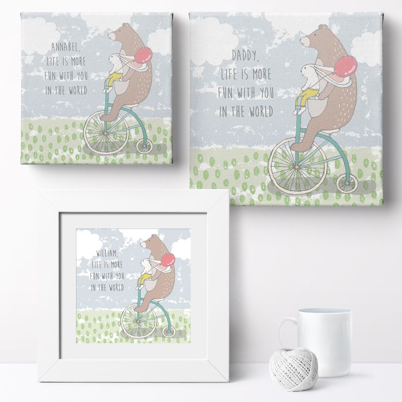 Personalised Life is More Fun with You in the World nursery print | bespoke baby christening gifts from PhotoFairytales