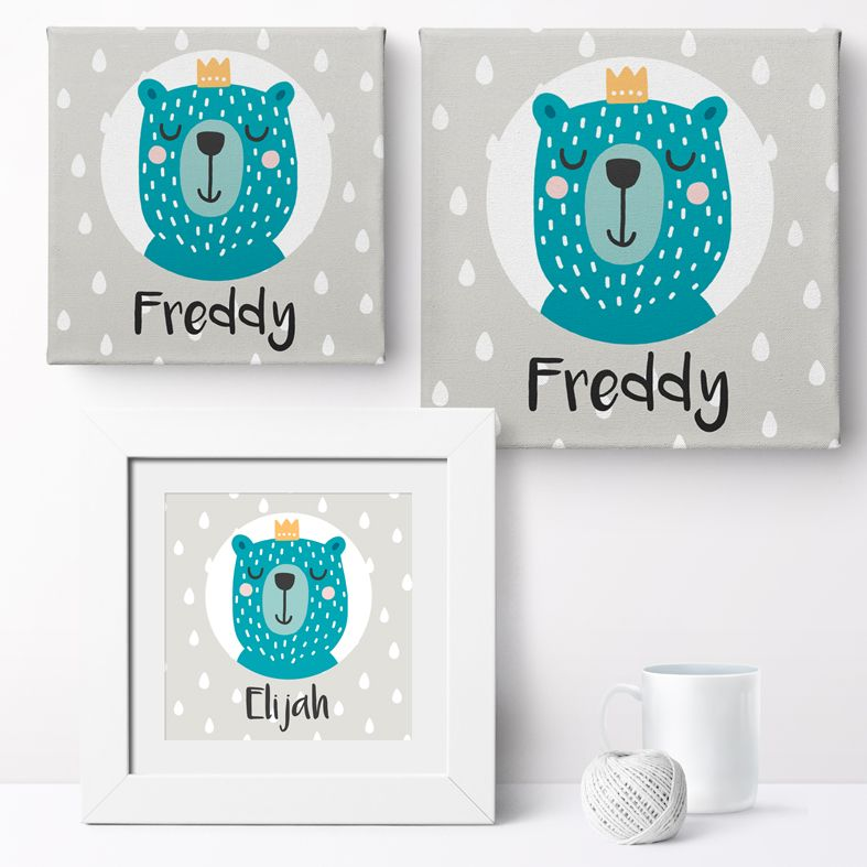 Personalised Bear Prince nursery print | bespoke baby christening gifts from PhotoFairytales