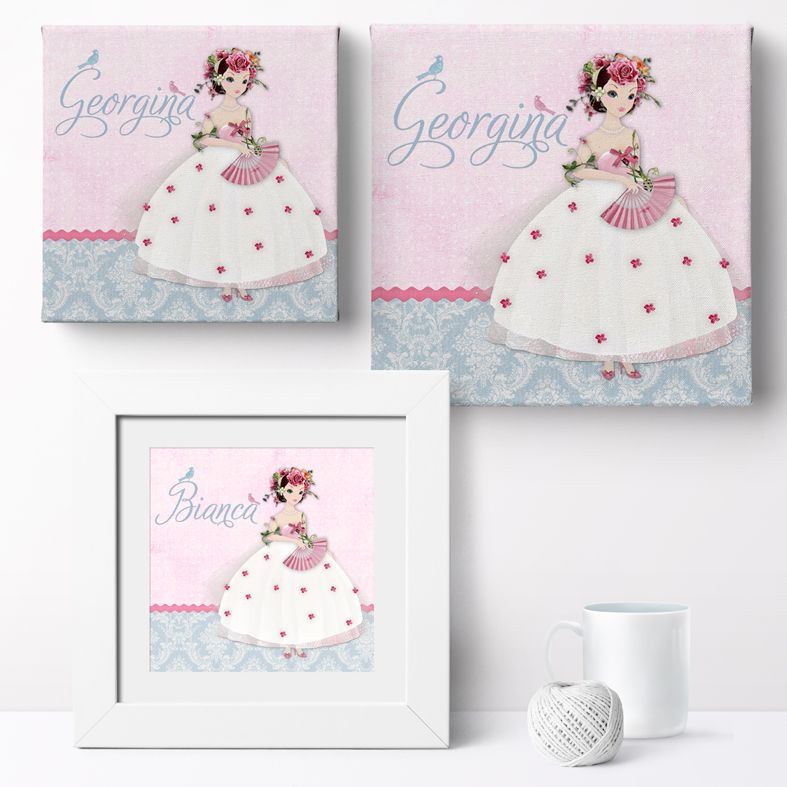 Personalised Damask Belle nursery print | bespoke baby christening gifts from PhotoFairytales