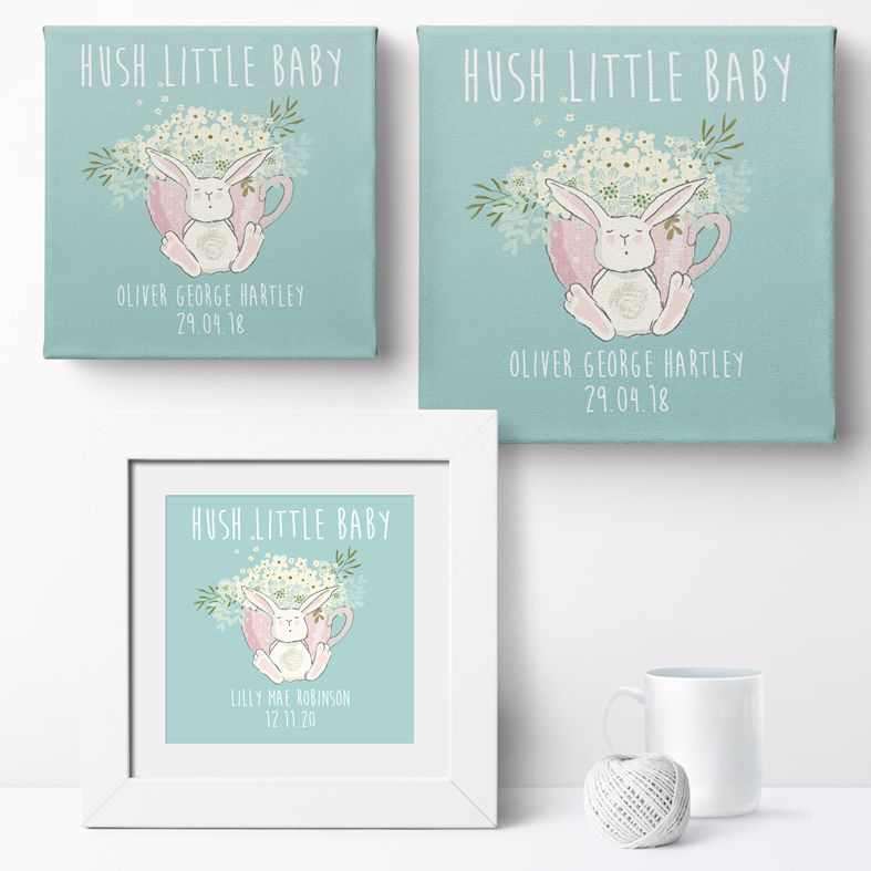 Personalised Hush Little Baby nursery print | bespoke baby christening gifts from PhotoFairytales