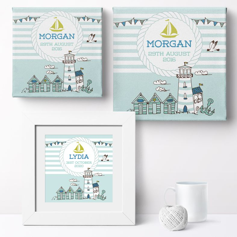 Personalised Nautical nursery print | bespoke baby christening gifts from PhotoFairytales
