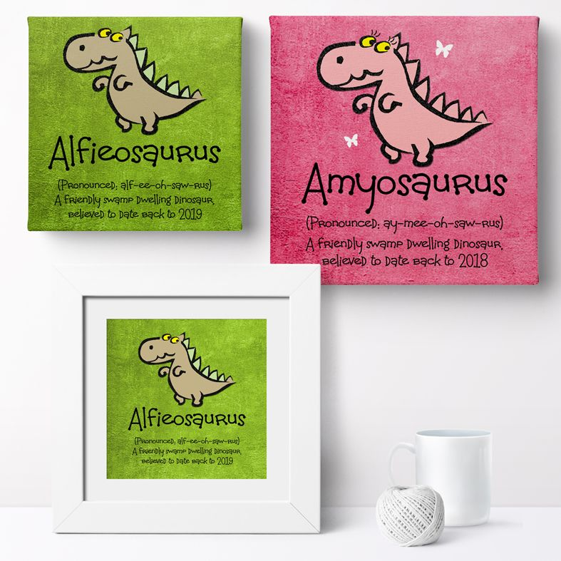 Personalised Dinosaur nursery print | bespoke baby christening gifts from PhotoFairytales