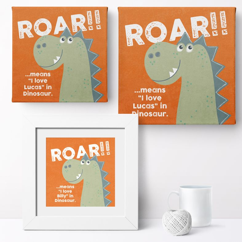 Personalised Dinosaur Love nursery print | bespoke baby christening gifts from PhotoFairytales