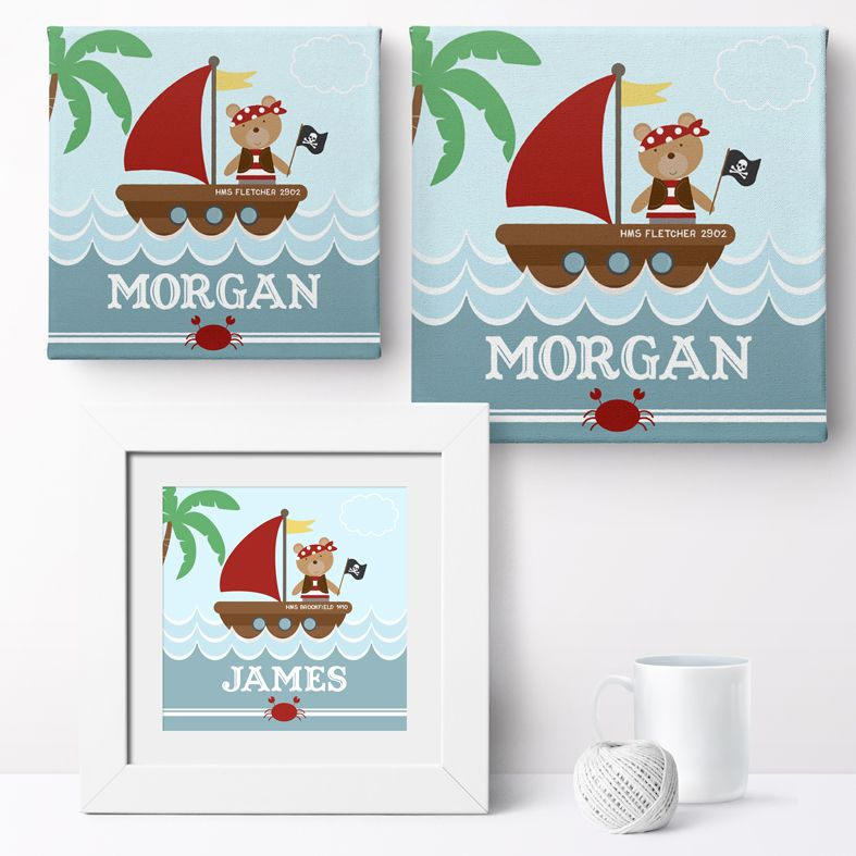 Personalised Pirate Bear nursery print | bespoke baby christening gifts from PhotoFairytales