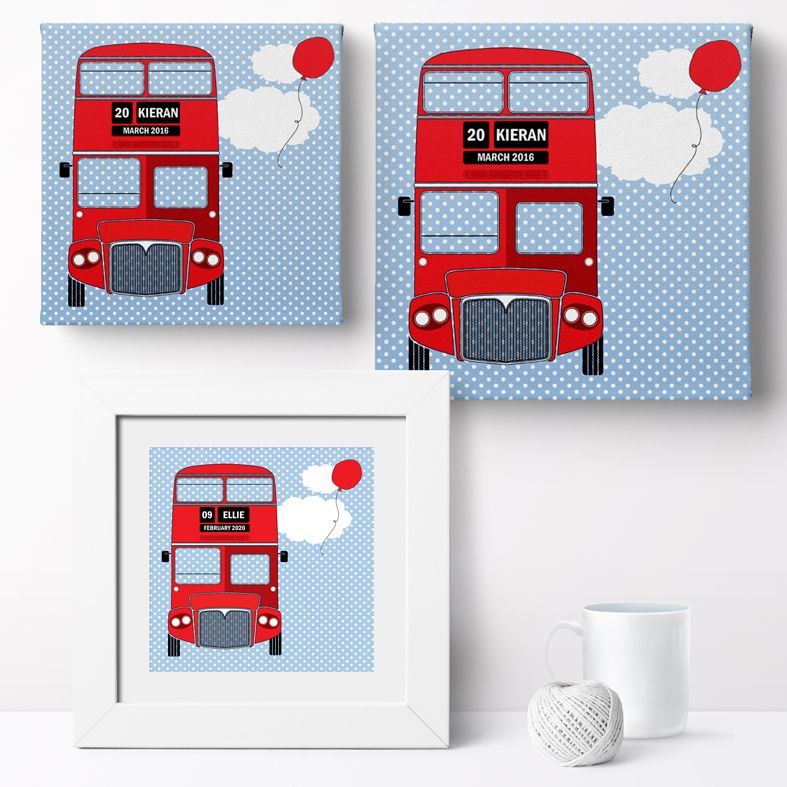 Personalised London Bus nursery print | bespoke baby christening gifts from PhotoFairytales