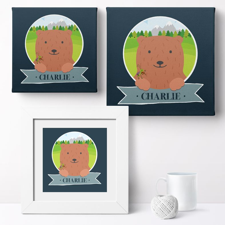 Personalised Mountain Bear nursery print | bespoke baby christening gifts from PhotoFairytales