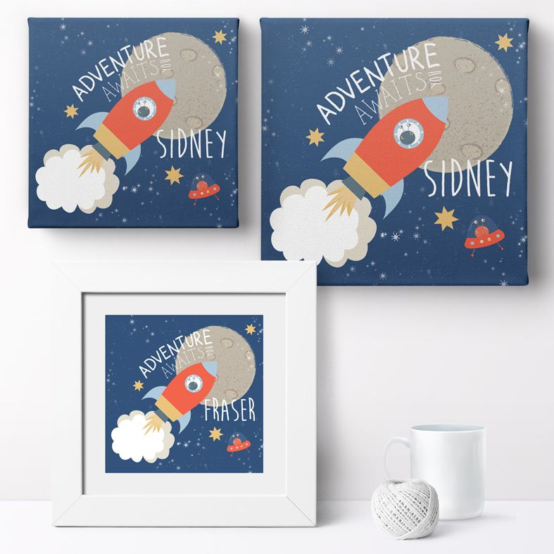 Personalised Retro Spaceship nursery print | bespoke baby christening gifts from PhotoFairytales