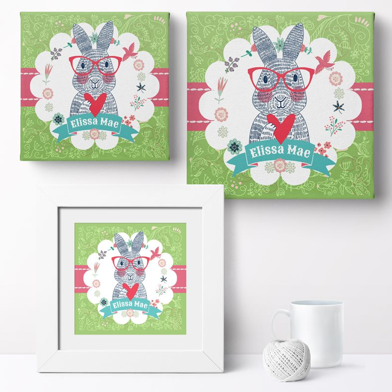 Personalised Spectacled Rabbit nursery print | bespoke baby christening gifts from PhotoFairytales