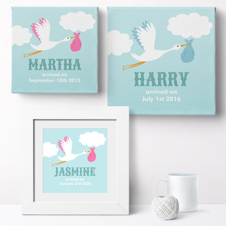 Personalised Stork nursery print | bespoke baby christening gifts from PhotoFairytales