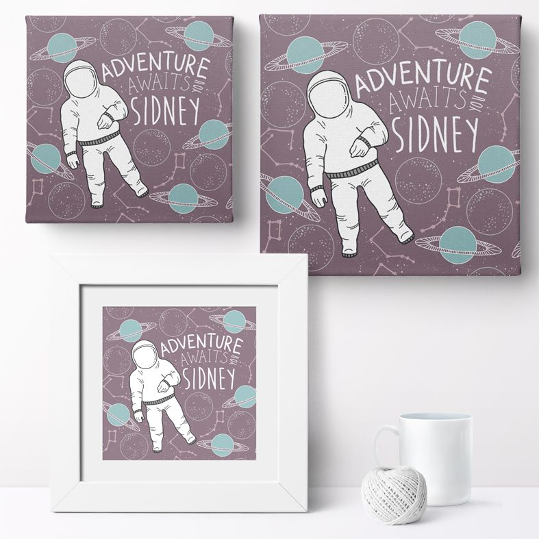 Personalised Space Adventure nursery print | bespoke baby christening gifts from PhotoFairytales