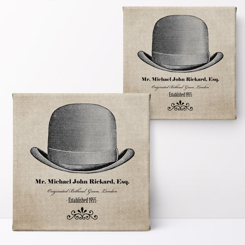 Gentleman's Hat Personalised Print   Personalised Canvas and Art Prints for Him, PhotoFairytales