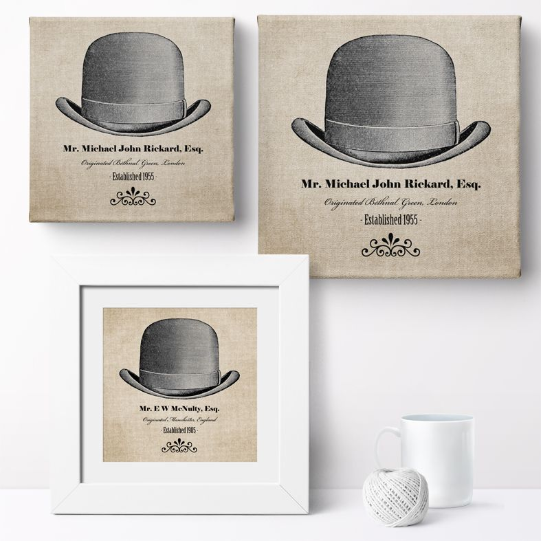 Gentleman's Hat Personalised Print | Personalised Canvas and Art Prints for Him, PhotoFairytales