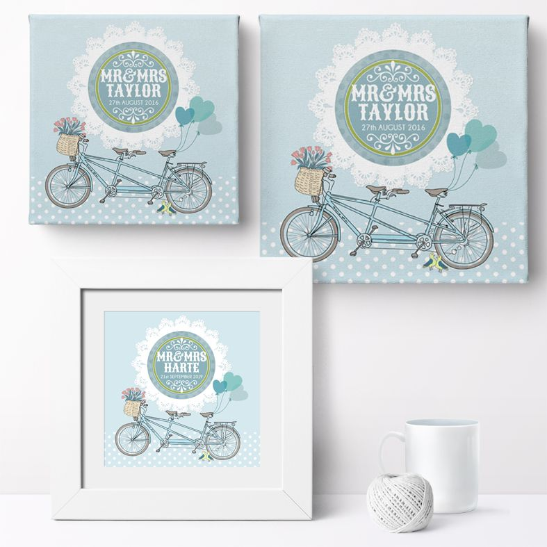 Bicycle Built for Two Personalised Print | Romantic Custom Canvas and Art Prints for Valentine, Wedding or Anniversary Gift, PhotoFairytales