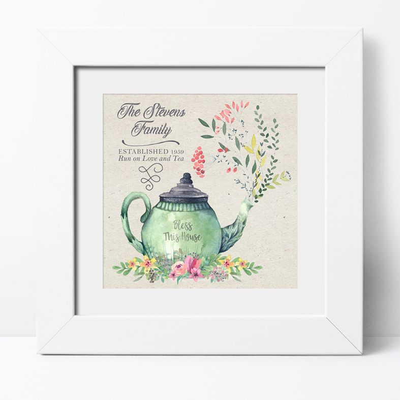 Love and Tea Personalised Print | Personalised Housewarming Gifts for Family, Canvas and Art Prints, PhotoFairytales