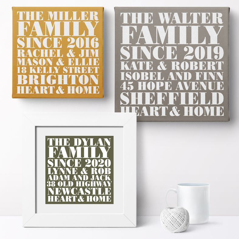 Heart and Home Personalised Print | Personalised Housewarming Gifts for Family, Canvas and Art Prints, PhotoFairytales