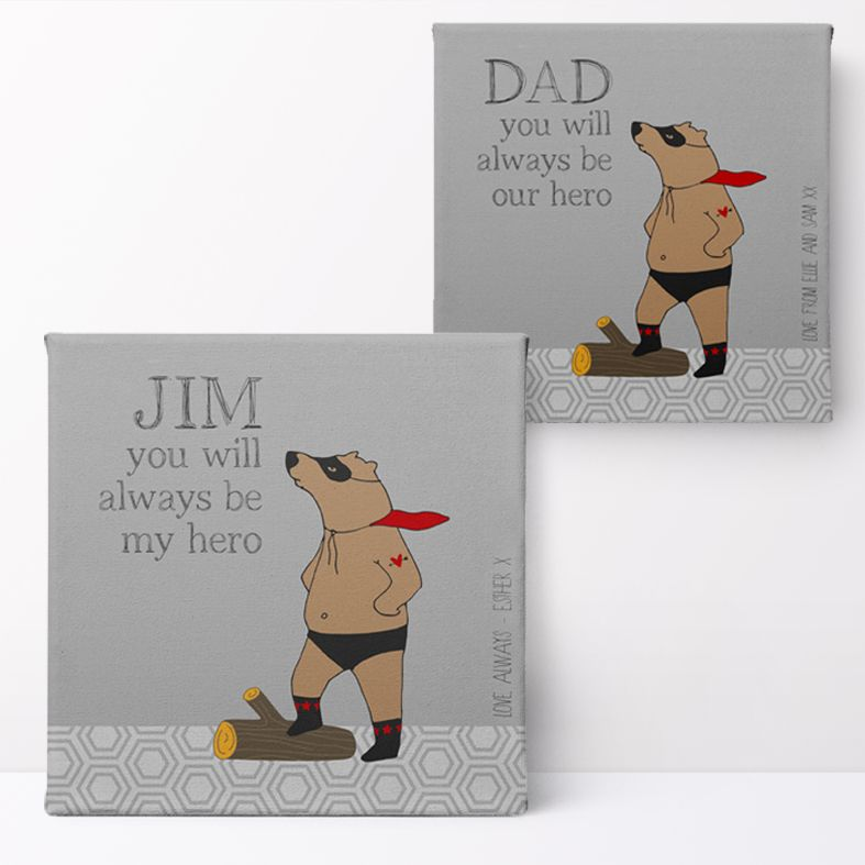 Superbear Personalised Print   Custom Canvas and Art Prints for Him PhotoFairytales #fathersdaygift