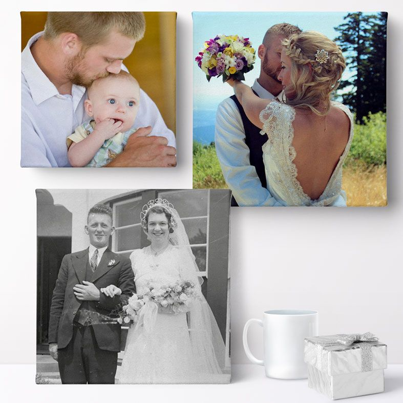 """Personalised 10x10/"""" Square Canvas Print 280gsm Your PHOTO//PICTURE 18mm Frame"""