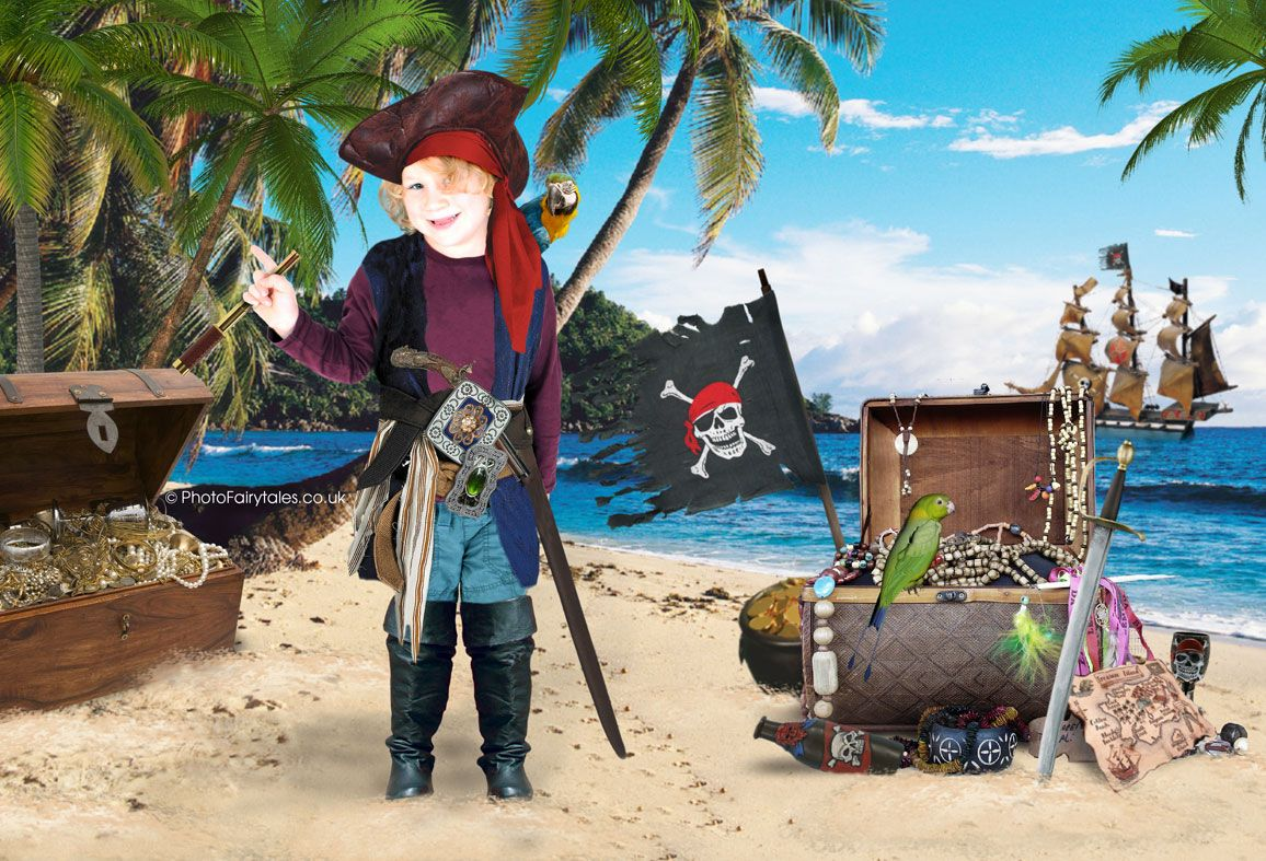 Pirate Treasure, bespoke fantasy image created from your own photo into unique personalised portrait and custom wall art | PhotoFairytales