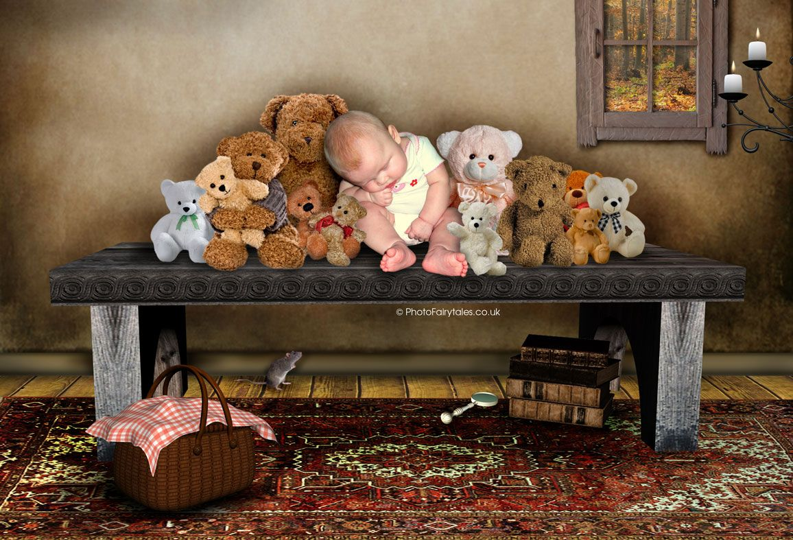 Teddy Shelf, bespoke fantasy image created from your own photo into unique personalised portrait and custom wall art   PhotoFairytales