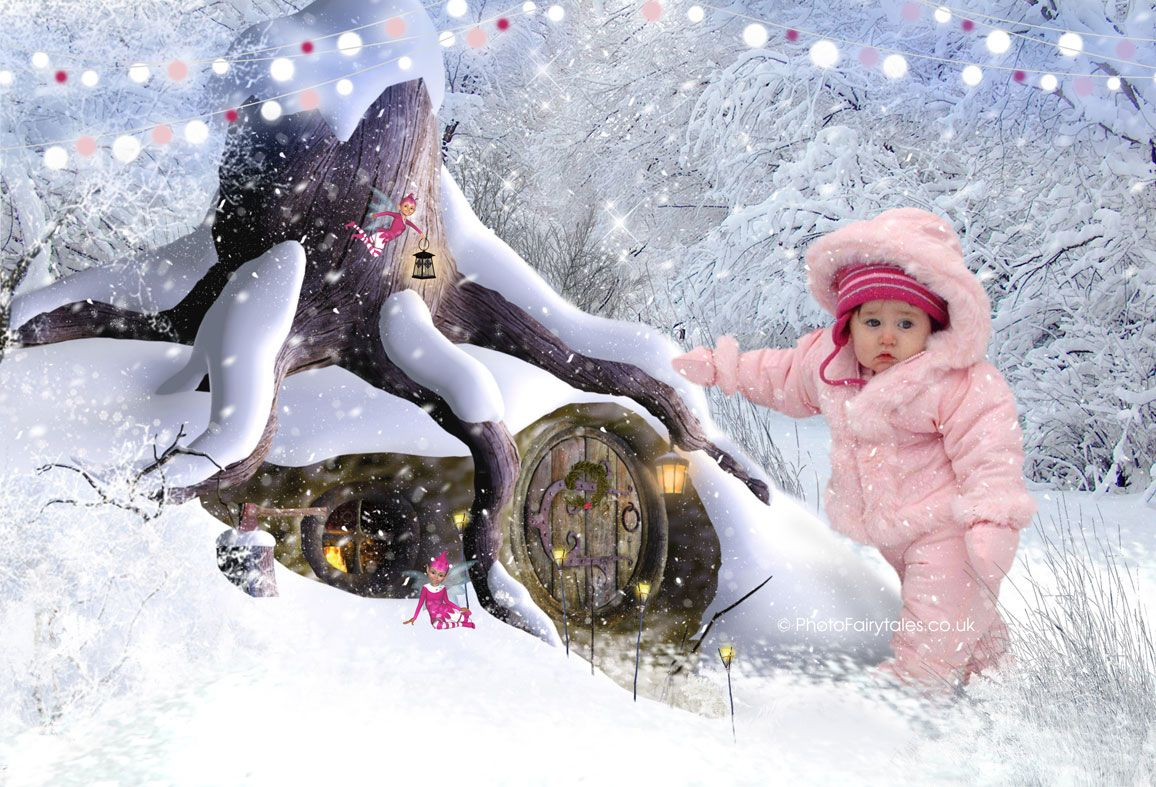 Winter Hideaway, bespoke fairytale fantasy image created from your own photo into unique personalised portrait and custom wall art | PhotoFairytales