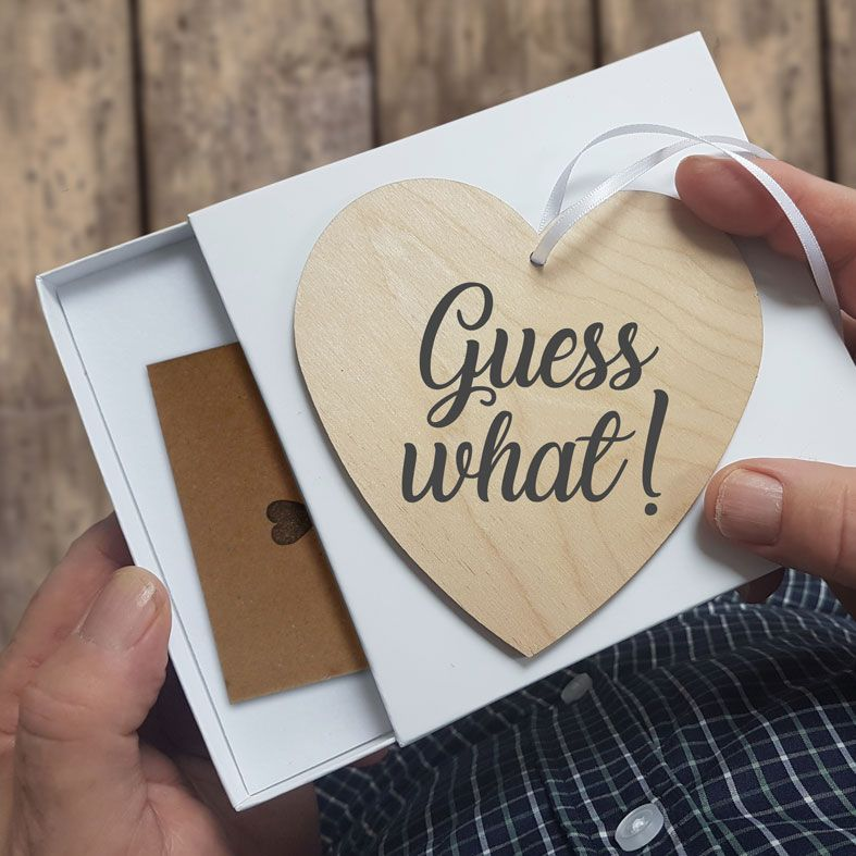 Personalised Wooden Announcement Hearts | beautifully gift boxed handmade message hearts, send them a message when you can't be there in person, PhotoFairytales
