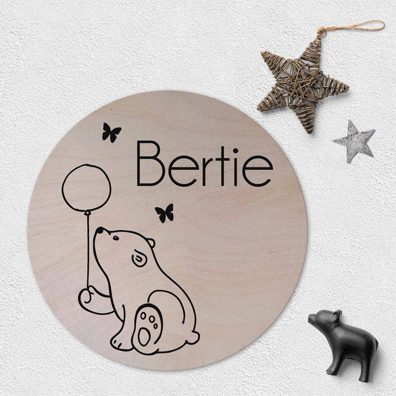 Personalised Wooden Circle Plaque for Baby | natural wood Scandi style round name wall sign, custom Scandi nursery decor #monochromenursery