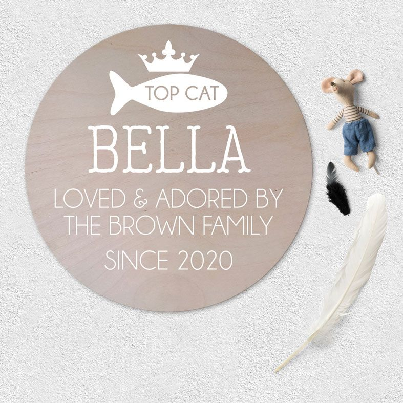 Personalised Cat Wooden Circle Plaque | natural wood Scandi style round wall sign, personalised gift for cat owner #personalisedpetgifts