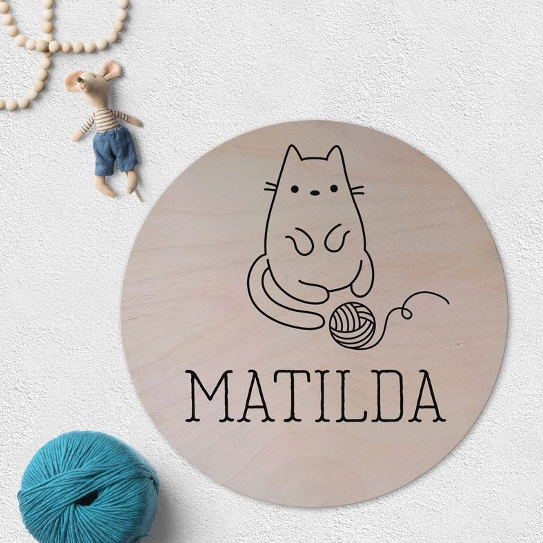 Personalised Cat Wooden Circle Plaque | natural wood Scandi style round wall sign, personalised gift for cat lovers