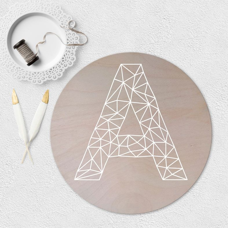 Personalised Geometric Initial Wooden Circle Plaque | natural wood Scandi style round wall sign