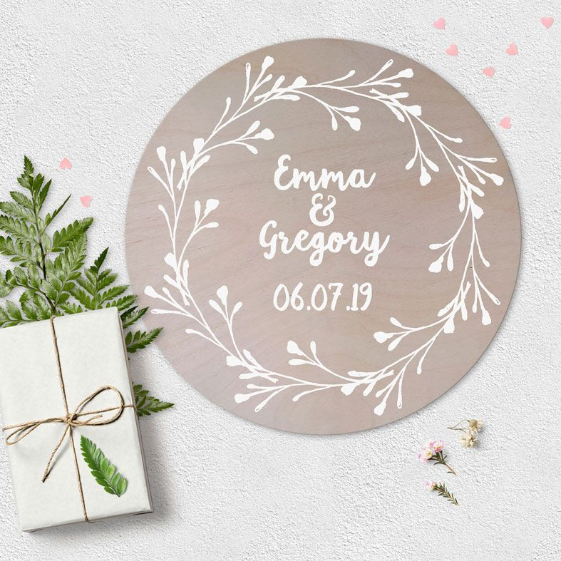 Personalised Wooden Circle Plaques | beautiful natural wood finish round wall signs in a range of designs, PhotoFairytales