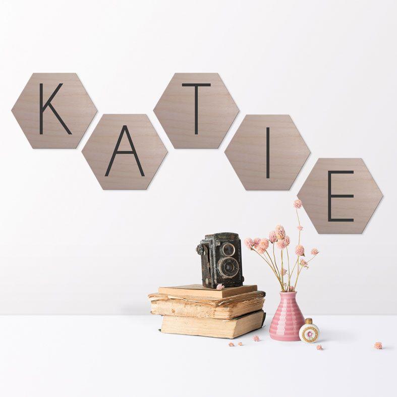 Personalised Wooden Hexagon Wall Plaques | Personalised real wood plaque, custom nursery decor, monochrome nursery art, PhotoFairytales
