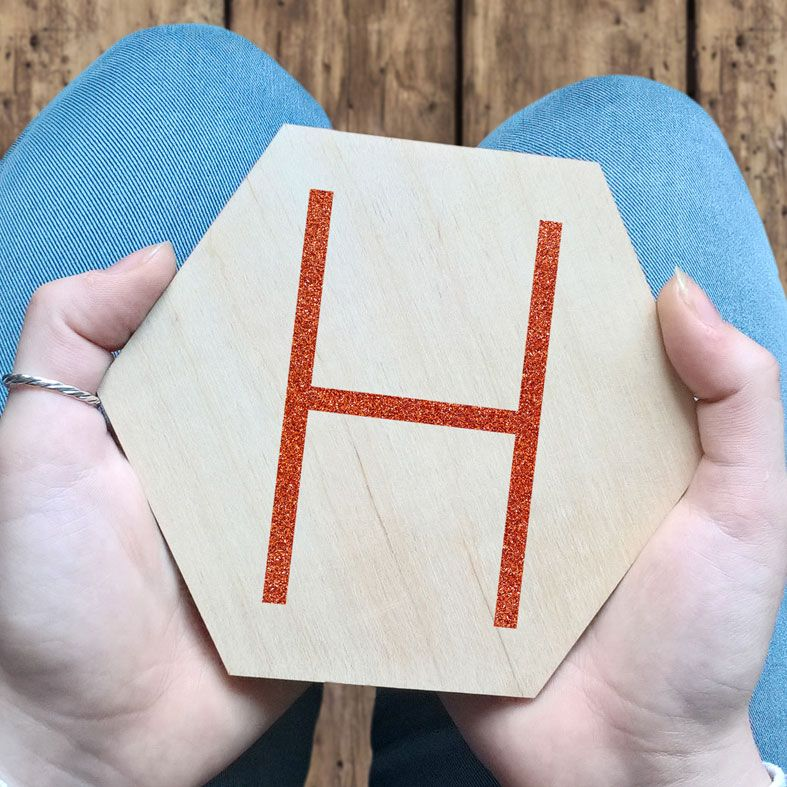 Personalised Wooden Hexagon Wall Plaques | natural wood Scandi style hexagon wall sign, personalised with any letter, name or word