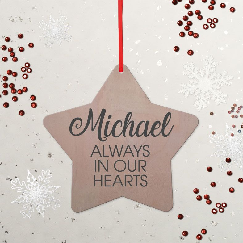 Personalised Memorial Star Christmas Decoration   contemporary handmade wooden star tree decorations, custom made, range of designs and colours, PhotoFairytales