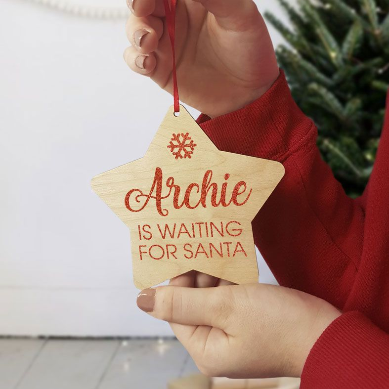 Personalised Waiting for Santa Christmas Decoration | contemporary handmade wooden star tree decorations, custom made, range of designs and colours, PhotoFairytales