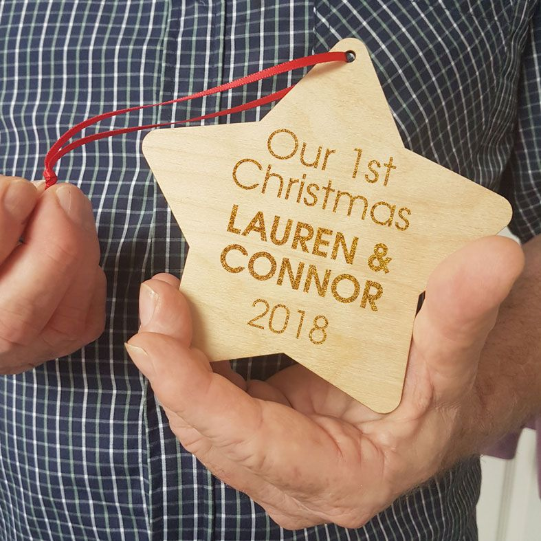 Personalised Couple's 1st Christmas Decoration | contemporary handmade wooden star tree decorations, custom made, range of designs and colours, PhotoFairytales #1stChristmas #romanticChristmas