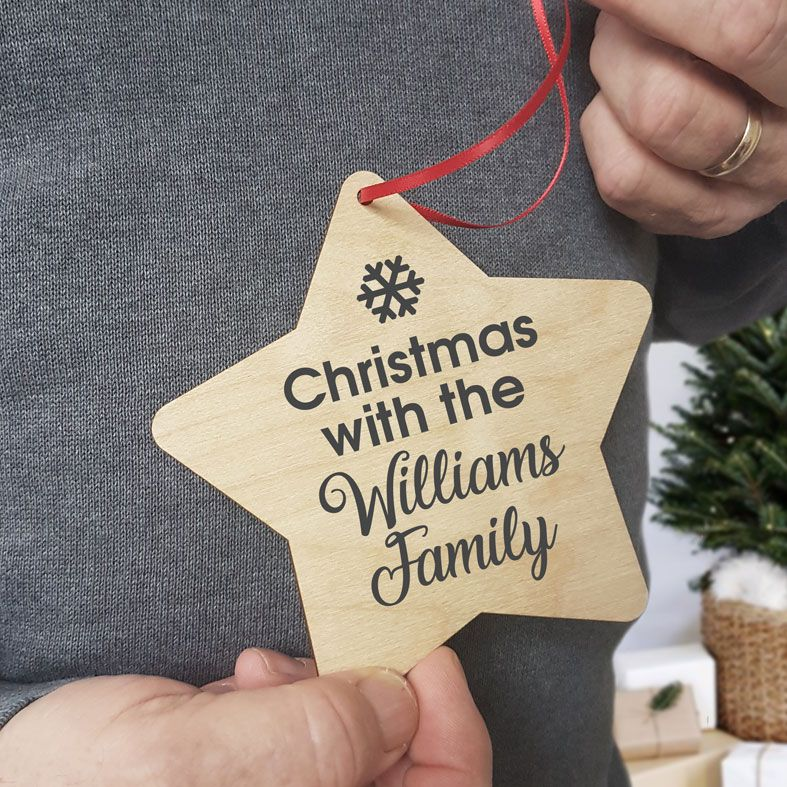 Personalised Family Christmas Decoration | contemporary handmade wooden star tree decorations, custom made, range of designs and colours, PhotoFairytales