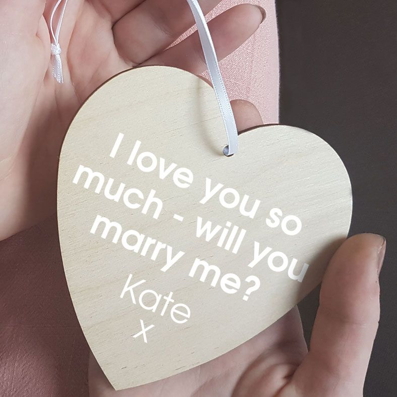 Personalised Wedding Proposal Gift Heart Wooden Plaques | beautifully gift boxed, handmade wooden hearts - a unique way to make an important announcement or send a message to friends & family