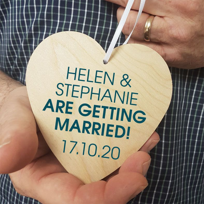 Personalised Wedding Announcement Gift Heart Wooden Plaques | beautifully gift boxed, handmade wooden hearts - a unique way to make an important announcement or send a message to friends & family