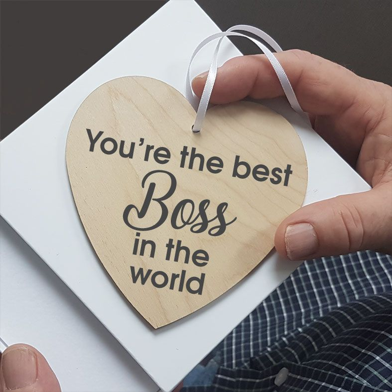 Personalised Boss Work Colleague Gift Heart Wooden Plaques | beautifully gift boxed, handmade wooden hearts - a unique way to make an important announcement or send a message to friends & family