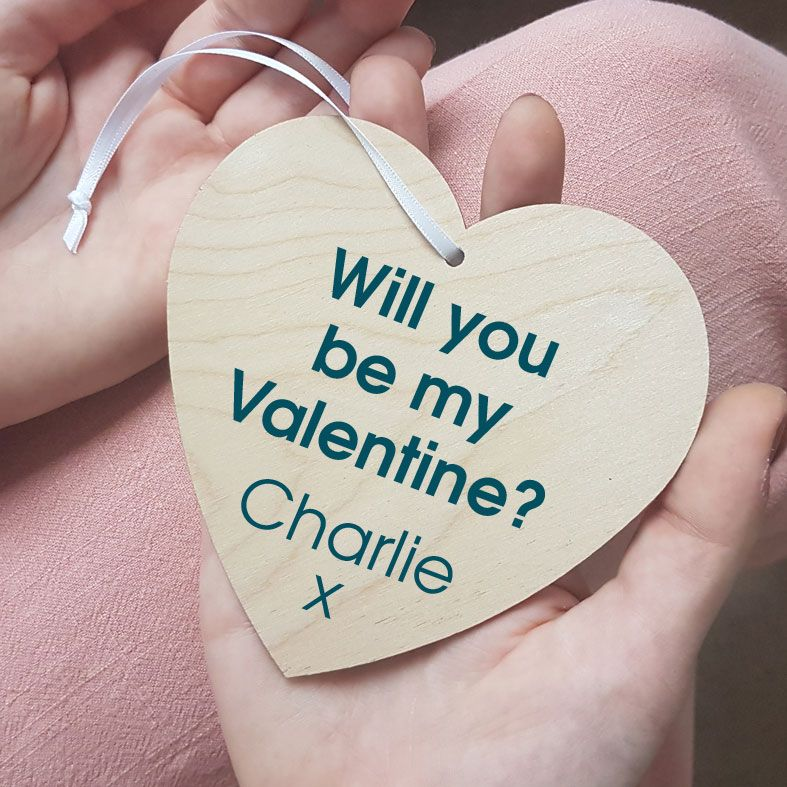 Personalised Will You Be My Valentine Wooden Gift Heart | beautifully gift boxed, handmade wooden hearts - a unique, romantic Valentine's Day gift for him or her