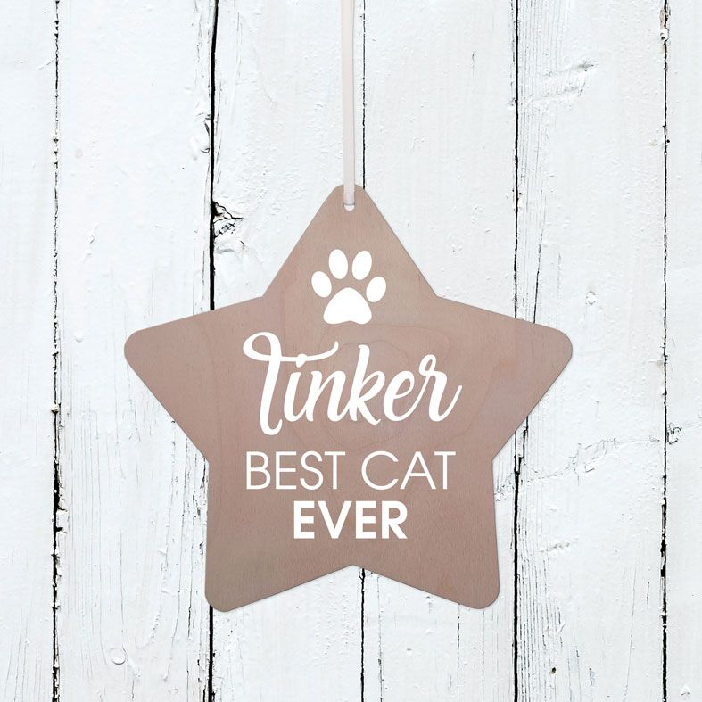 Personalised Best Cat Wooden Plaque | Handmade birch wood hanging sign, personalised gift for cat lover #catlovergift